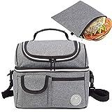 Lunch Tote Bag & Reusable Sandwich Bag Bundle - Double Compartment Lunch Tote...