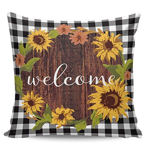 Winter Rangers Fundas de almohada decorativas, diseño de girasol, color negro, a cuadros de búfalo corto, para sofá, cama, silla, ultra suave y transpirable, 45,7 x 45,7 cm