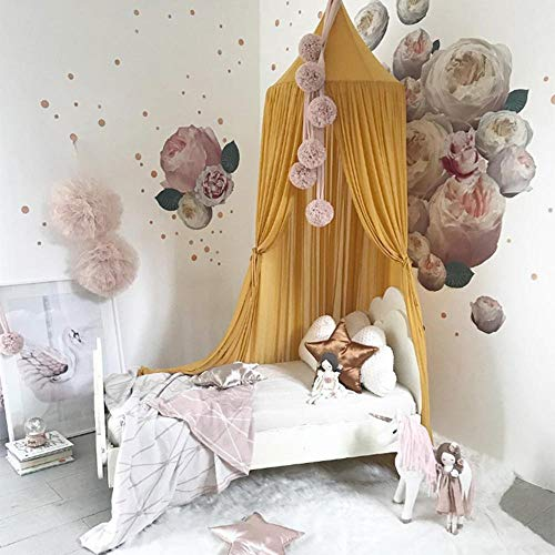 Bed Canopy, Dyna-Living Net Dome Light Block Out Room Decorate with Assembly Tools for Boys Girls Reading Playing Indoor Game House, Cotton, Yellow