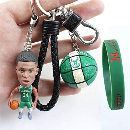 ZHS Llavero de baloncesto para hombre #34 con colgante de muñeca de Bucks y mini balón de baloncesto y pulsera y tacos de aleación para llavero de recuerdo para niños baloncesto