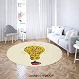 Homenon Luxury Round Rugs Coffee is Always A Good Idea Quote in Tool Dripping to Mug Image Fun Area Rugs for Kids Baby Bedroom Circle Carpet Nursery Rugs Dia. 2'(60cm)