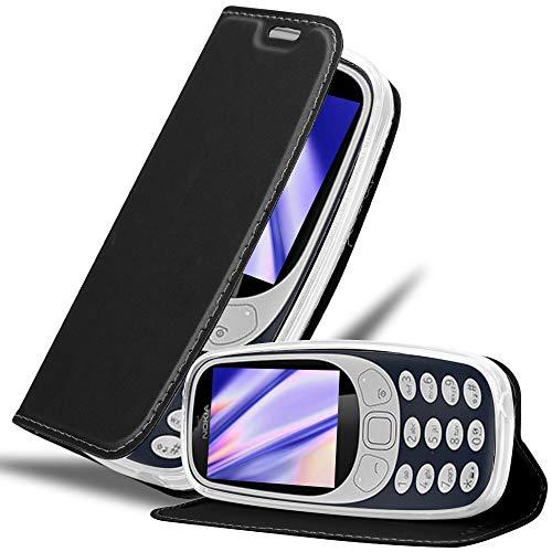 Cadorabo Hülle für Nokia 3310 in Classy SCHWARZ - Handyhülle mit Magnetverschluss, Standfunktion & Kartenfach - Hülle Cover Schutzhülle Etui Tasche Book Klapp Style