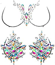 Leoars Rhinestone Body Gems Stickers, Mermaid Chest Gems and Breast Pasties Jewelry Makeup Set, Crystals Body Jewels Glitter Music EDC Decorations for Festive Rave Party Outfit, 2-Pack