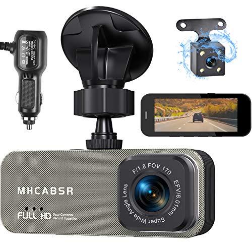 Dashcam Autokamera vorne und hinten,Dual-Rückfahrkamera 3,6 Zoll Full HD 2K, 170 ° Weitwinkel, G-Sensor, WDR, Schleifenaufzeichnung, Parküberwachung und Bewegungserkennung