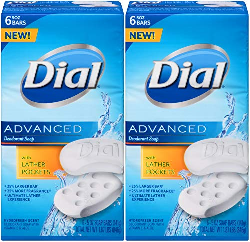 Dial Advanced Deodorant Soap, Hydrofresh Scent, 5 Ounce Bars, 6 Count (Pack of 2) 12 Bars Total