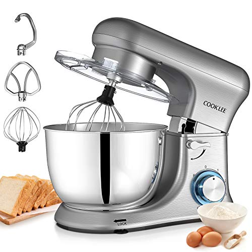 Stand Mixer, COOKLEE 5.5 Qt 600W Kitchen Electric Mixer All Metal Cake Mixer 6-Speed Food Mixer Dough Blender with Dough Hooks,Bowl,Beater, Whisk and Cover & Dishwasher Safe