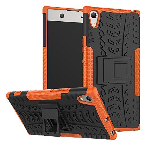 Sony Xperia XA1 Ultra Hülle Hülle, Heavy Duty Dual Layer Euti Holster Armor Tasche Defender Schutzhülle mit Ständer Hülle Fall für Sony Xperia XA1 Ultra (Orange)