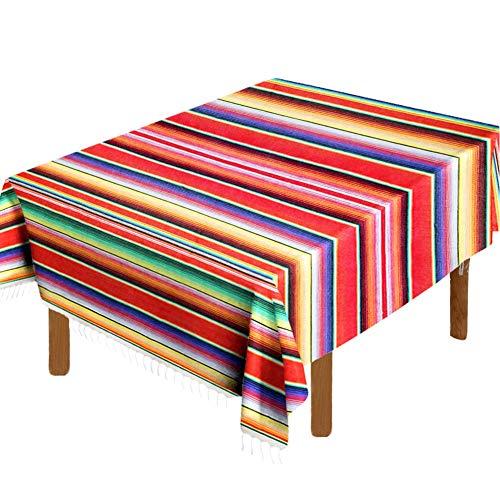 Mexikanische Serape-Decke, Tischdecke, 150 x 213 cm, für mexikanische Party, Hochzeit, Dekoration, Outdoor, Picknick, Esstisch, groß, quadratisch, Fransen, Baumwolle, handgewebt