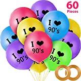 90s Themed Party Set, Include 60 Pieces I Love 90s Latex Balloons and 2 Rolls Balloon Ribbons for 90s Themed Birthday Party Throwback Party Decorations