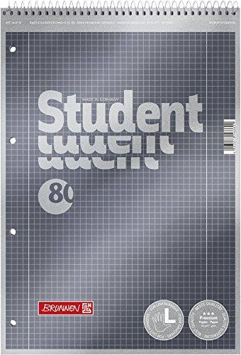Brunnen 1067112 Notizblock / Collegeblock Student Premium Linkshänder (Veredeltes Deckblatt mit Metallic-Effekt, A4, kariert Lineatur 28, 90 g/m², 80 Blatt mit Kopfspirale