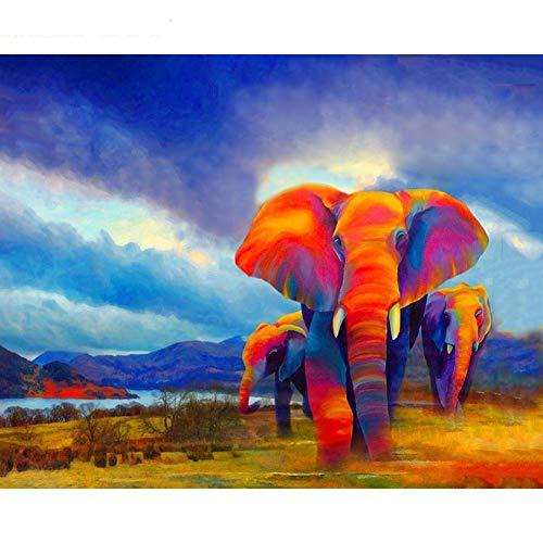 GKJRKGVF doe-het-zelf schilderij op nummer, kleurrijke olifant, doe-het-zelf schilderijdoe-het-zelf lijst, geschenk voor thuis, muurkunstwerk, 40 x 50 cm