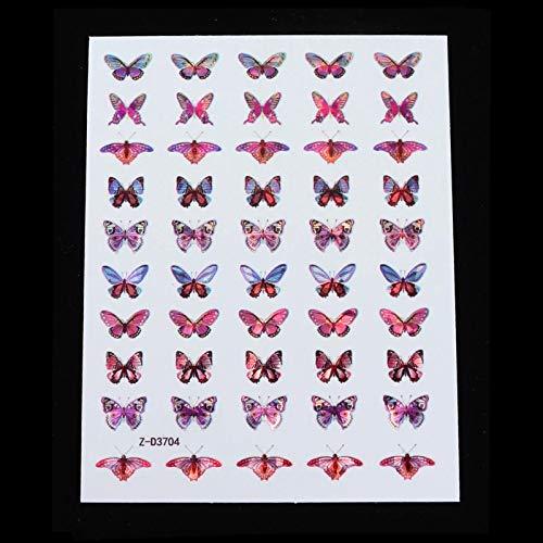HBNNBV Nails Uñas Postizas Pegatina de Mariposa holográfica Pegatina Calcomanía de uñas DIY Slider para manicura Arte de uñas Decoración de manicura Elegante (Color : LSBF 4)