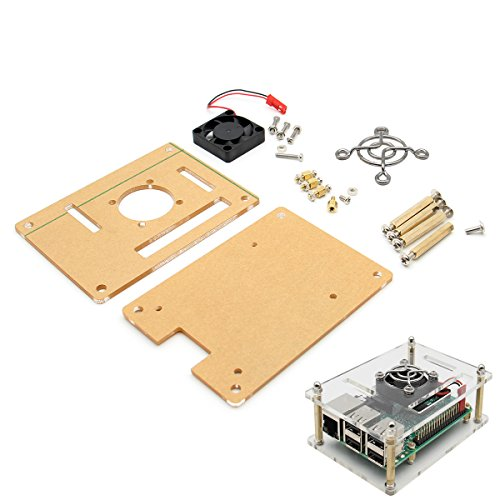 RICHEN Raspberry Pi Case with Cooling Fan and 3 Pcs heatsink Cooler Set,Acrylic Case for Raspberry Pi 3 Model B/2B/B+
