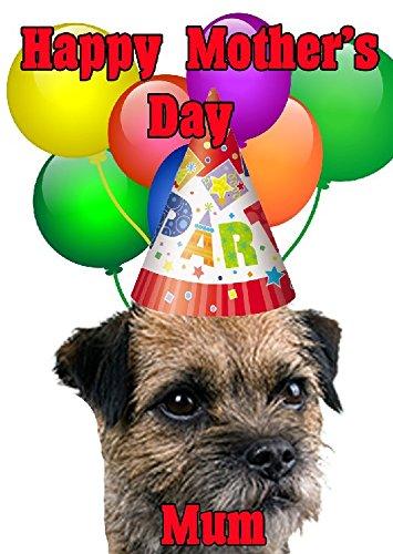 Border Terrier perro feliz día de la madre tarjeta de gorro de fiesta codebtr personalizado felicitación