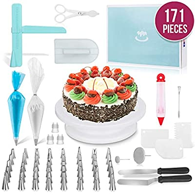 MERRI Cake Decorating Supplies 171 Pcs| Includes All Essential Baking Supplies & Pastry Tools - Rotating Turntable Stand, Frosting, Piping Bags and Tips Set, Icing Spatula, Cake Smoother