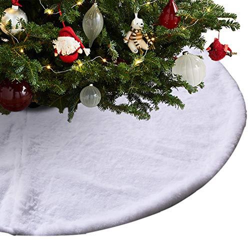 MJEMS Weihnachtsbaumdecke, Weihnachtsbaum Rock Decke Plüsch Fell Filz-Baumdecke Rund Christbaumdecke Tannenbaum-Unterlage 90cm/ 36 Zoll Durchmesser, Weiß