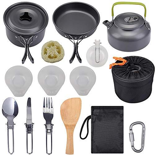 Bling Camping Batterie de Cuisine, léger et Portable Batterie de Cuisine Mess Kit de sécurité pour Backpacking Outdoor Gear Camping Randonnée Fun Pique-Nique,Noir