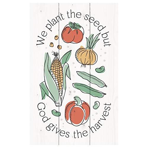 Tamaño y patrón personalizables que plantamos las semillas pero Dios da la cosecha de madera de paletas decorativas con cuerda de cáñamo