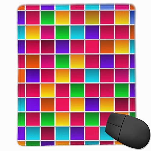 Alfombrilla de ratón colorida para niños de color arcoíris de 25 x 30 cm con base de goma antideslizante