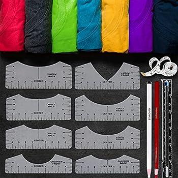 12pcs Tshirt Ruler Guide for Vinyl Alignment T Shirt Ruler to Center Designs T-Shirt Alignment Tool for Vinyl Placement Tee Shirt Guide Ruler for Heat Press Tshirt Printing Guide Set - Transparent…