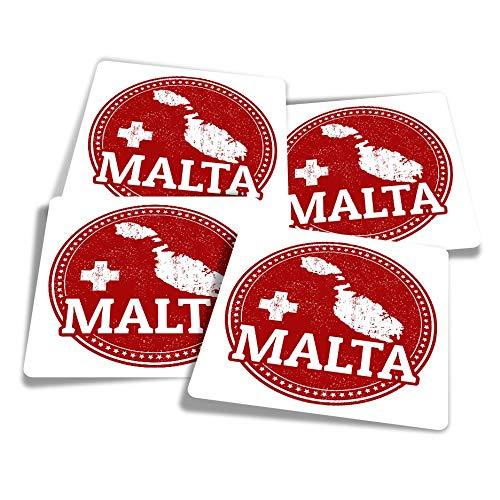 Vinyl Stickers (Set of 4) 10cm - Malta Maltese Flag Map Travel Fun Decals for Laptops,Tablets,Luggage,Scrap Booking,Fridges #4285