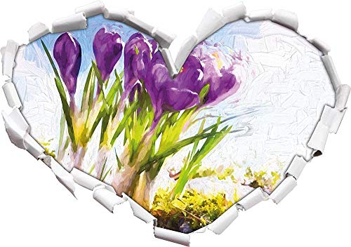 KAIASH 3D Pegatinas de Pared Art Spring florwer Background Art Brush Efecto Forma de corazón en 3D Look Etiqueta de la Pared o de la Puerta Etiqueta de la Pared decoración de la Pared 92x64cm