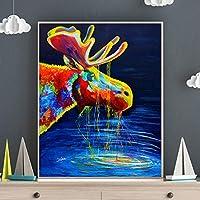 キャンバス絵画プリントグラフィティカラフルな動物の写真エルク油絵ポスター現代の壁アート写真家の装飾60x90cmフレームレス