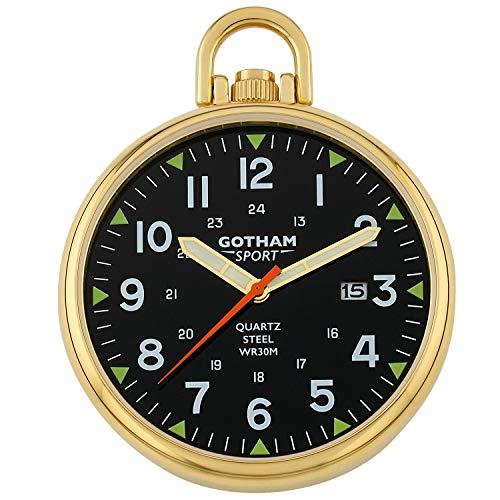 Gotham Men's Sport Series Gold-Plated Stainless Steel Analog Quartz Date Pocket Watch # GWC14109GB