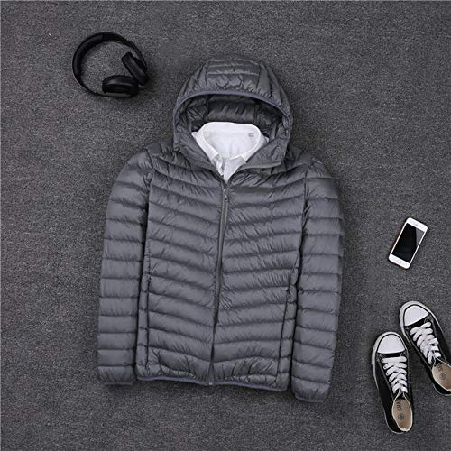 HIUGHJ Hommes Hooded Ultralight White Duck Down Jacket Warm Jacket Line Portable Package Men Pack Jacket, Gris, XXL