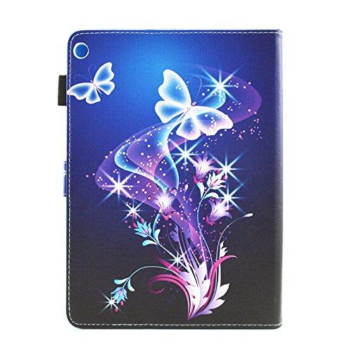 HUDDU Verträumter Schmetterling Schutzhülle für Huawei MediaPad M3 Lite 10 (10,1 Zoll) Hülle Flip Tasche Leder Smart Case Lightweight Cover mit Stand Kartenfach Magnetverschluss Notebook Lederhülle - 2
