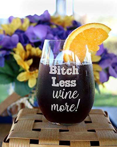 DKISEE Taza de vino con texto en inglés 'Bitch Less Wine More Copas', vidrio, Un color, 311,84 g