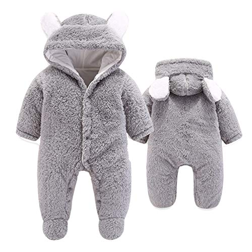 VNVNE Newborn Baby Cartoon Bear Snowsuit Warm Fleece Hooded Romper Jumpsuit (0-3 M, Grey)