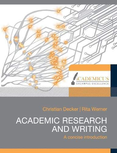 Academic research and writing: A concise introduction