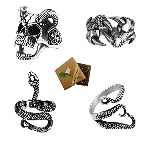 Anillo Gótico Hombre Mujeres Anillos de Plata Punk Ajustables Conjunto de Anillos de Dedo de Calavera con Garra De Dragón y Pulpo de Serpiente Vintage 4 Piezas