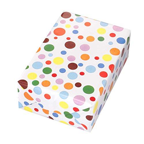 Geschenkpapier Rolle 50 cm x 50 m, Motiv Ballero, bunte Punkte auf hochglänzendem Papier. Für Geburtstag, Sommer, Kinder.