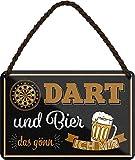 """Blechschilder Bier Dart lustiger Spruch: """"Dart und Bier"""
