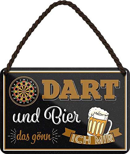"""Blechschilder Bier Dart lustiger Spruch: """"Dart und Bier das gönn ich Mir"""" Deko Bar Schild Theke 18x12 cm"""