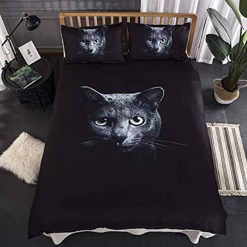 BIANXU 3D Eule Schwarze Katze Serie Bettwäsche Set Print Bettbezug mit Kissenbezügen Verschluss Pflegeleicht Einzel Doppel King Size UDouble: 200x200cm (79 * 79in) Kking: 220 * 240