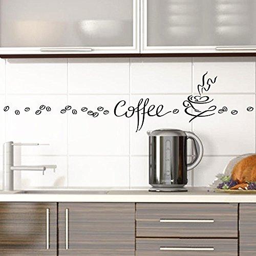 Grandora Wandtattoo Coffee Kaffee Tasse Kaffeebohnen I schwarz Kreativset I Esszimmer Kaffeeecke Küche Aufkleber Wandaufkleber Wandsticker Sticker 1045W