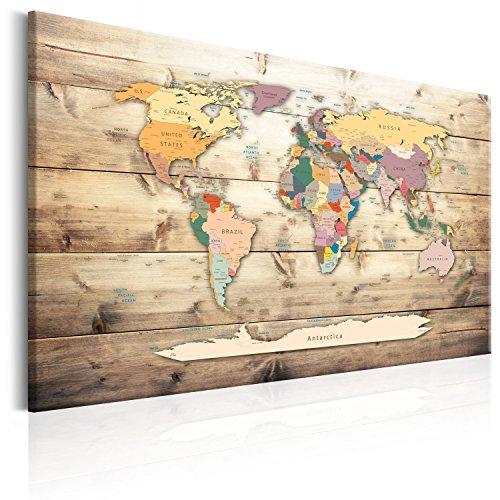 murando Weltkarte Pinnwand & Vlies Leinwand Bild 120x80 cm XXL Bilder mit Kork Rückwand 1 Teilig Kunstdruck Korktafel Korkwand Memoboard Pinboard Wandbilder Karte Landkarte k-B-0009-p-b