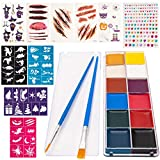 Face Painting Kit for Kids, Professional 12 Colors Body & Face Paint Makeup Palette, 40 Stencils, 2 Brushes, Gems and Tattoo Stickers, Perfect Party, Cosplay, Halloween Makeup