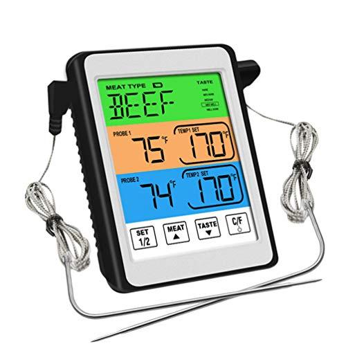 Baijiaye Fleischthermometer Digitales Grill-Thermometer Ofenthermometer mit Timer,2 Temperaturfühlern Sonden,℃&℉ Umwandlung,Für Das Kochen BBQ Backofen/Fleisch/Pute/Steak Weiß 102 * 85 * 23mm