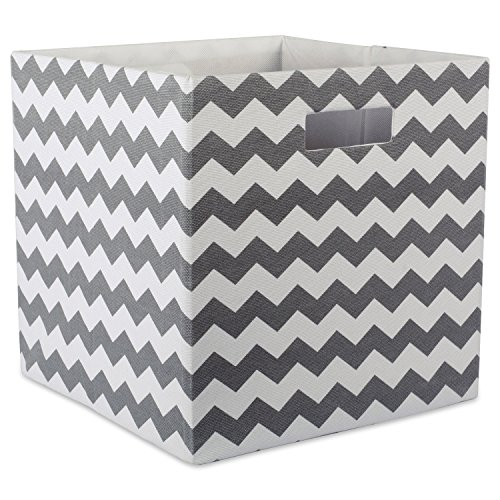 DII Hard Sided Collapsible Fabric Storage Container for Nursery, Offices, & Home Organization, (13x13x13) - Chevron Gray