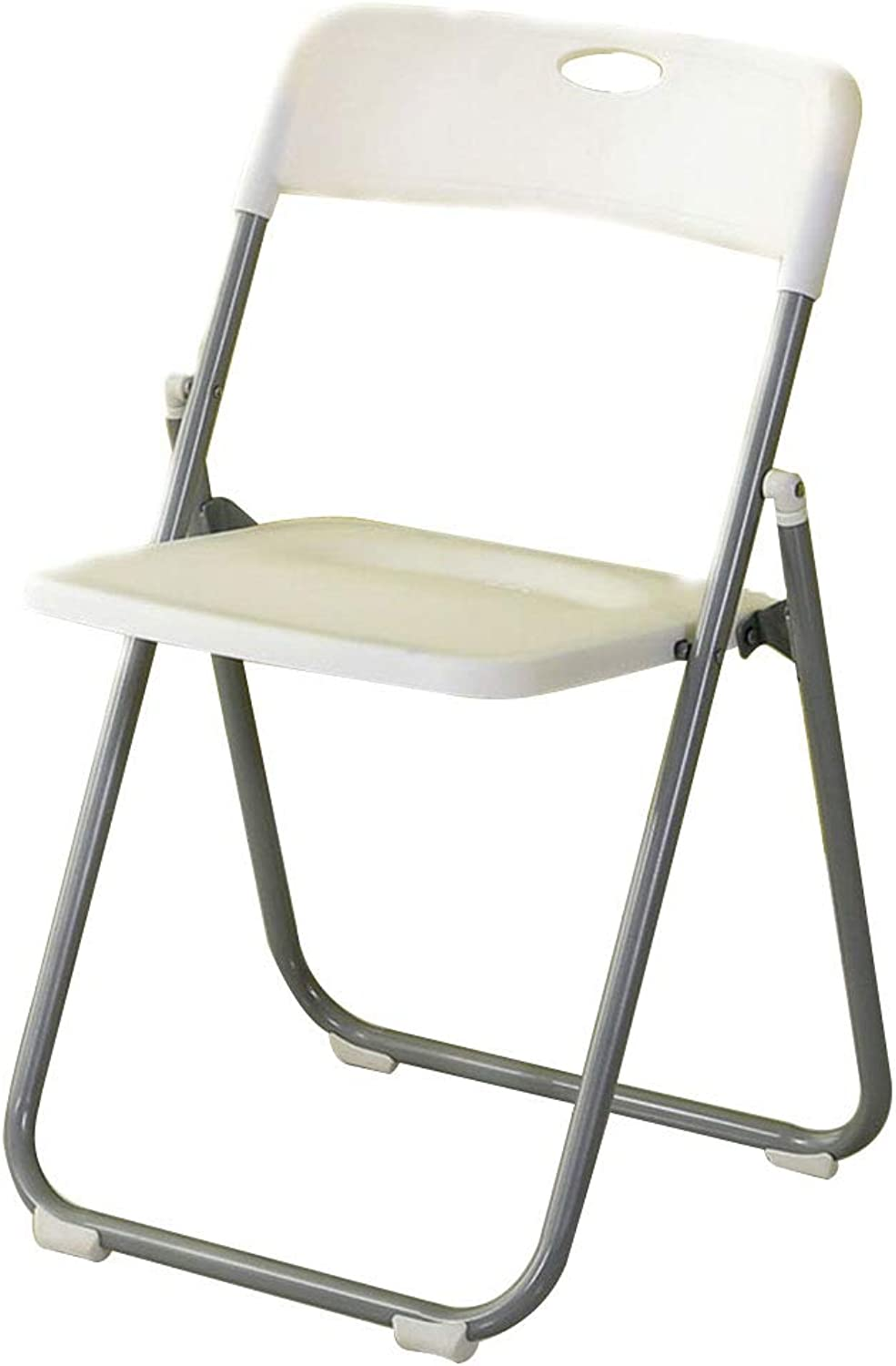 Chair Chair, Portable Handle Foldable Steel Frame Ergonomic Design Simple Household Dining Chair Bathroom Stool 5 colors (color   White)