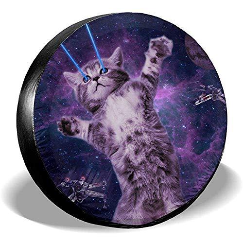Autoreifenabdeckung Sonnenschutz Schutzhülle Space Cat mit Lasern Augen Wasserdicht Universal Reserverad Reifenabdeckung Passend für Anhänger, Wohnmobile, SUV und verschiedene Fahrzeuge 16 Zoll