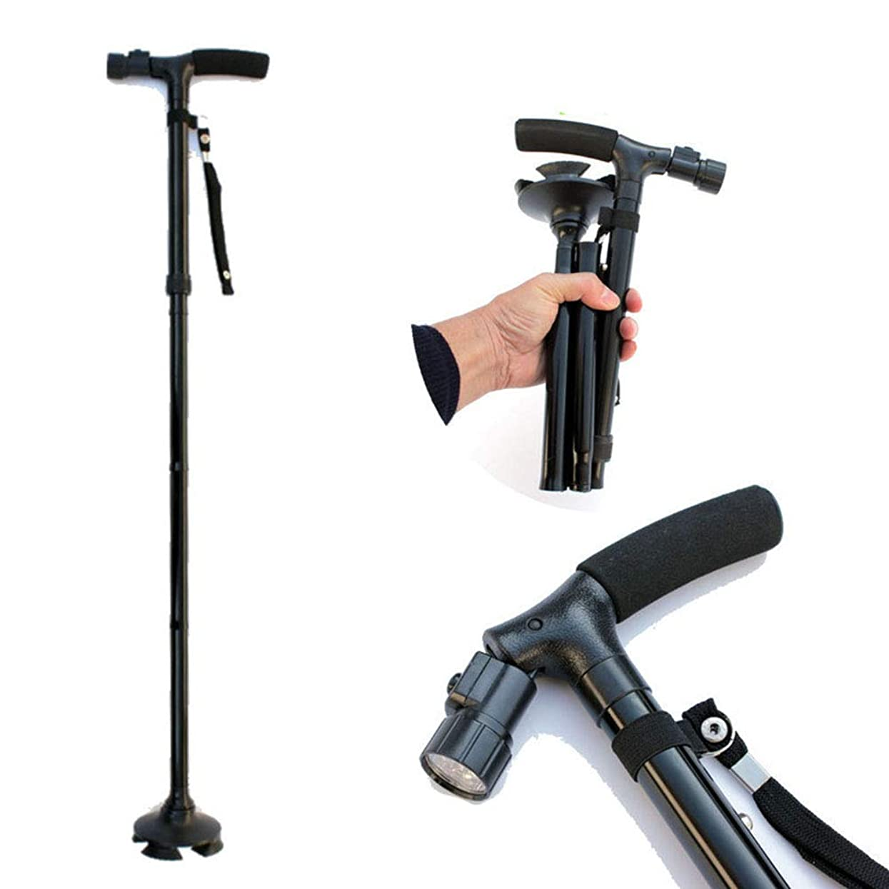 ペルメルテンション資金LED付折りたたみ式高齢者用松葉杖小型4本足杖トレッキングポール5速展開