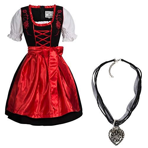 Mufimex Damen Dirndl Kleid Dirndlkleid Trachtenkleid Midi schwarz Leuchtend mit Halskette Rot 40