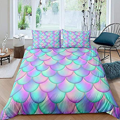HUA JIE Abstract Mermaid Fish Scales Bedding Set Colorful Girls Duvet Cover Set Full Size Dcorative Microfiber Comforter Cover Set