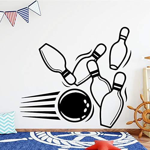 Bowling Ball Vinyl Wandaufkleber Personalisierte Name Kunst Aufkleber Wandaufkleber für Kinder Wohnzimmer Baby Aufkleber Home Docoration 58X52CM