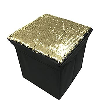 Home Basics Reversible and Foldable Sequin Storage Ottoman (Gold/Black)